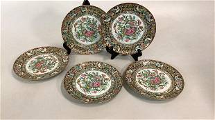 5 Asian Famille Thousand Butterfly Plates