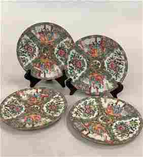 4 Famille Rose Medallion Plates