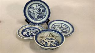 4 Pieces Canton Blue and White