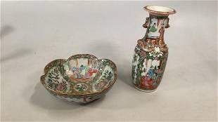 Famille Porcelain Bowl, Vase