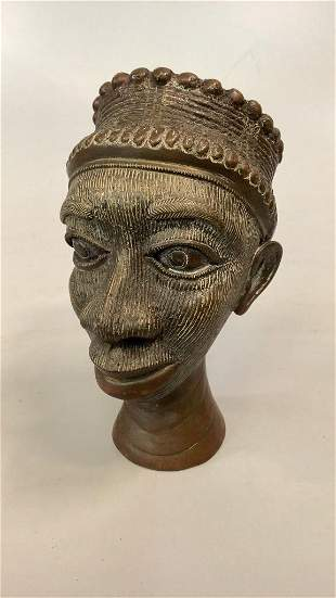 African Copper Bust of Woman
