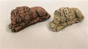 2 Recumbent Lion Garden Statues