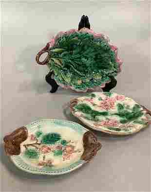 3 Majolica Bread Trays, Dishes…