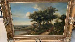 Oil on Canvas Landscape with Sheep