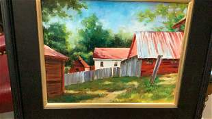 Oil on Board, Red Barn, White House