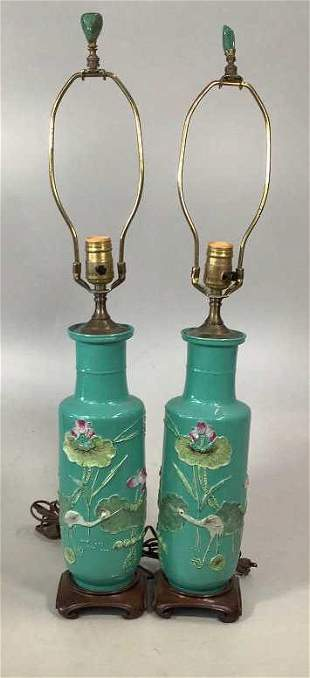 Pair Asian Polychrome Vase Lamps