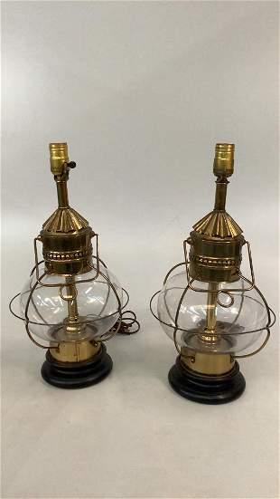 Pair Nautical Lantern Lamps