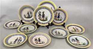 11 French Faience Quimper Plates