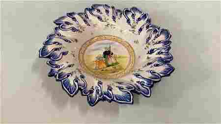 French Faience Breton Quimper Bowl