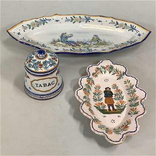 3 Pieces French Faience Quimper