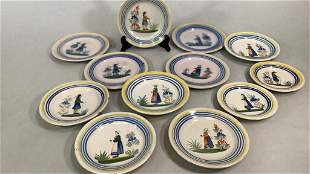 12 Pieces French Faience Quimper