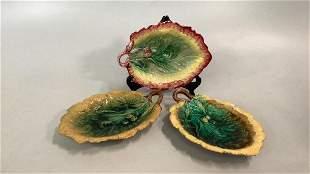 3 Antique Majolica Acorn Leaf Trays
