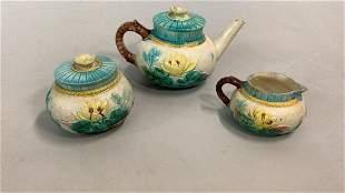 4 Piece Majolica Tea Set