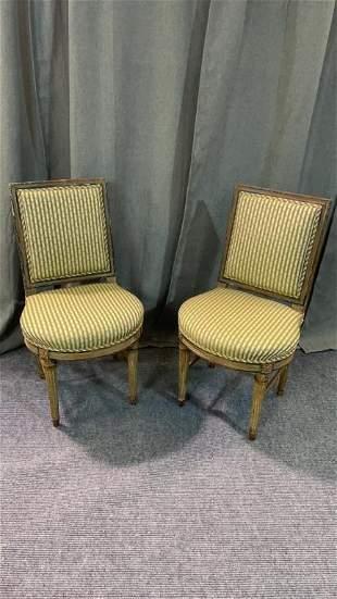 Pair Petite Gustavian Side Chairs