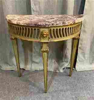Louis The XVI Marble Top Demilune