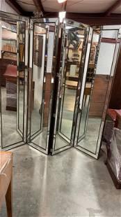 4 Paneled Mirrored Screen