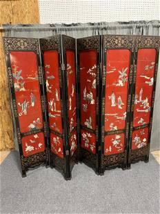 6 Panel Inlaid Asian Screen