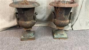Pair Vintage Iron Garden Urns