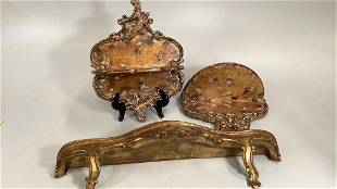 3 Vintage Gilded Wall Brackets