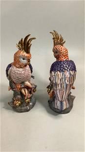 Pair Polychrome Porcelain Parrots