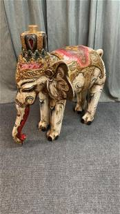 Carved Royal Wooden Elephant Statue