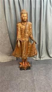 Carved Wooden Siddartha Gautama Statue