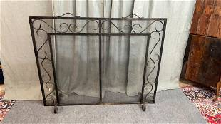 Monumental hand wrought fire screen