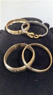 4 Bangle Bracelets, Some Gold
