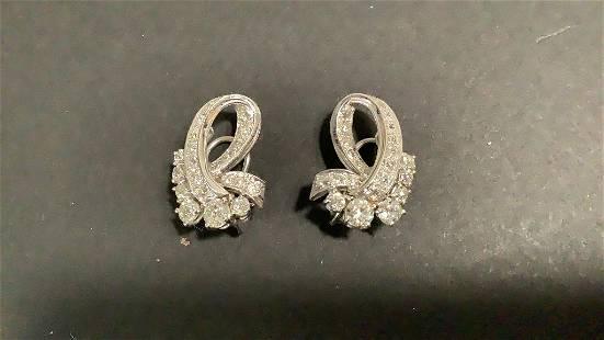Pair Antique Diamond and Platinum Earrings