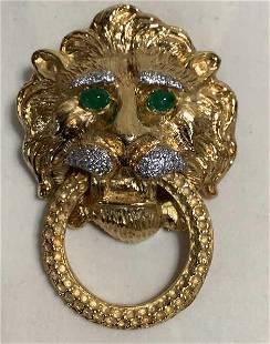 14k Lion Head Doorknocker Brooch