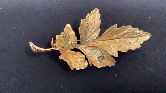18K Gold Leaf Pin
