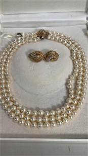 14K Gold and Pearl Ensemble
