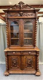 Highly Carved English Oak Hunt Cupboard