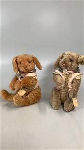 2 Wendy Brent Hand Crafted Rabbits