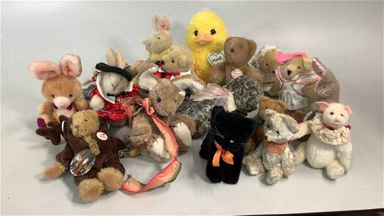 Collection of 17 Non Steiff Animals
