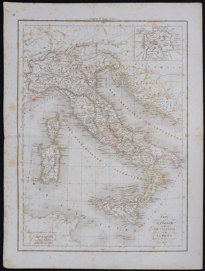 1838 Map of Italy and Sicily