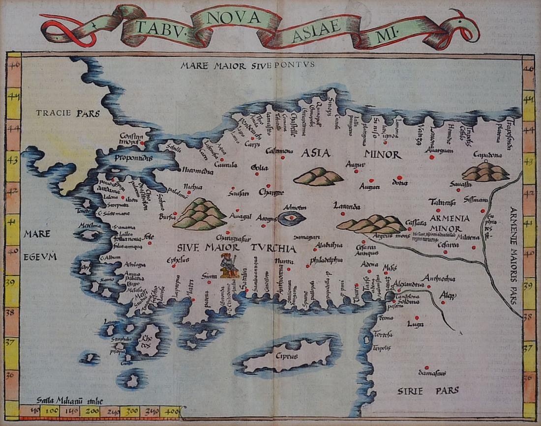 16th c. Tabu Nova Asiea Mi Hand Colored Map