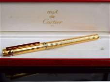 CARTIER Vendome Crosshatch 18K Gold Nib Fountain Pen