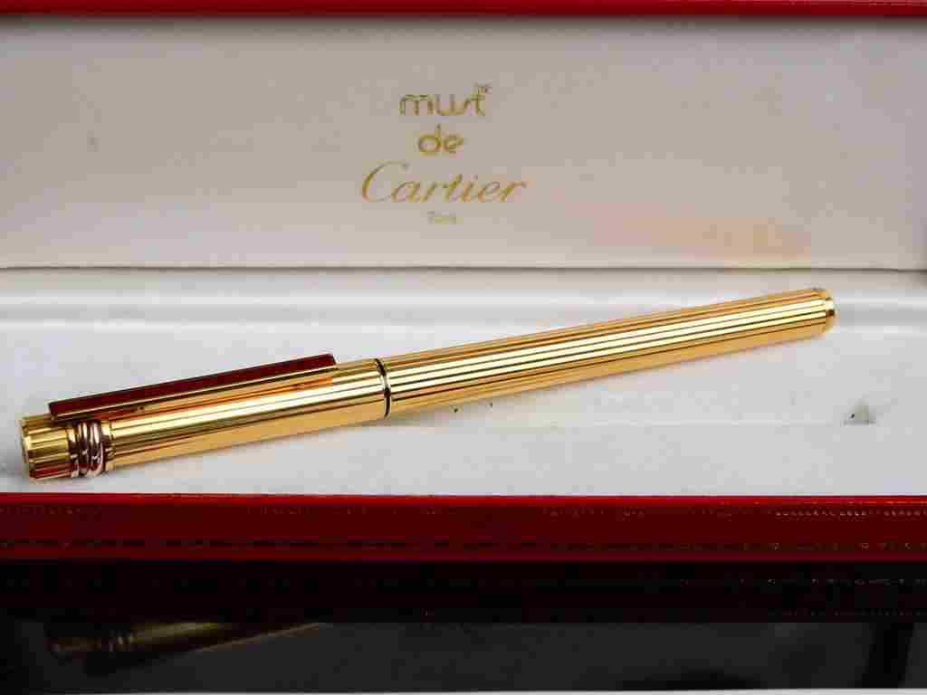 CARTIER Vendome Crosshatch 18K Gold Nib Fountain Pen