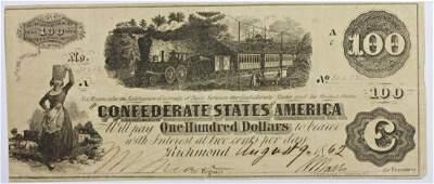 1862 RARE CONFEDERATE 100