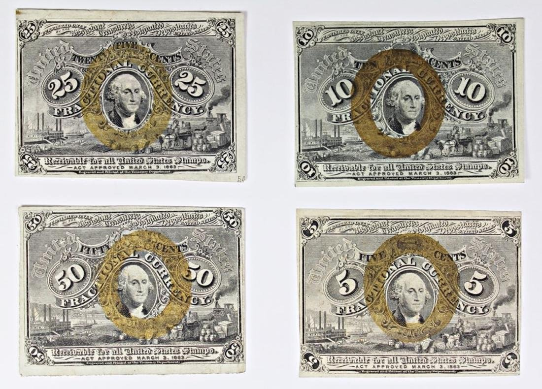 FOUR PIECE SET OF FIVE CENT, TEN CENT,