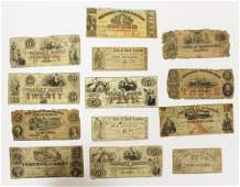 RARE GROUP OF 13 OBSOLETE BANK NOTES
