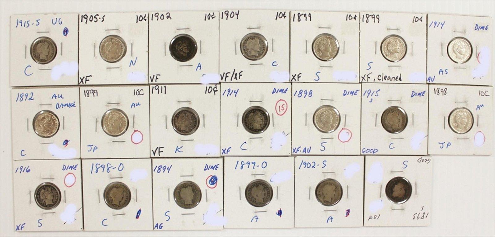 BARBER DIME LOT: 20 COINS TOTAL SEE DESCRIPTION