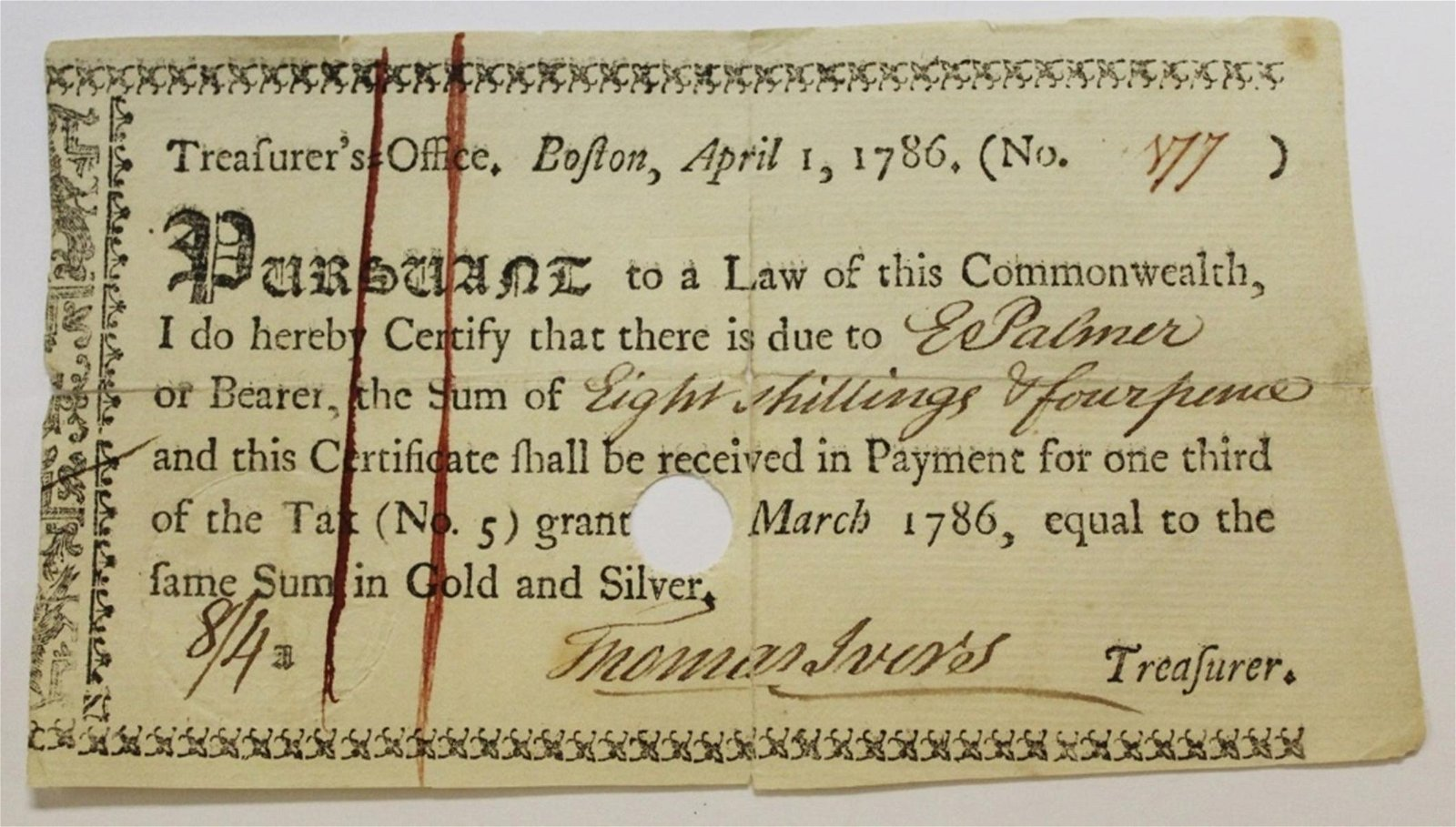 RARE 1786 BOSTON TREASURY WARRANT