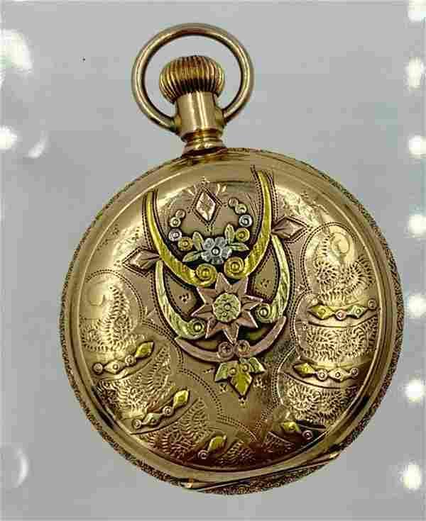 ELGIN MULTI COLOR GOLD ENGRAVED HUNTING CASE