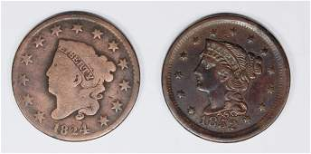 1824 AND 1852 US LARGE CENTS