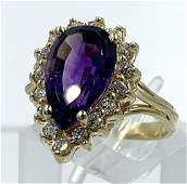 14KT YELLOW GOLD AMETHYST & DIAMOND RING