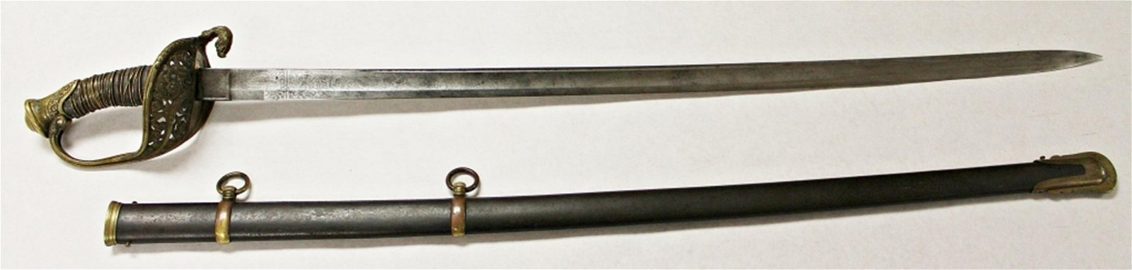 U.S. MARKED CIVIL WAR SWORD WITH SCABBARD