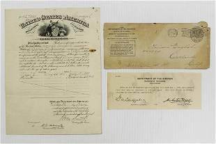 ORIGINAL FRAMABLE DEPT OF INTERIOR PENSION CERT