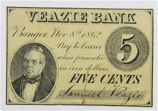 1862 VEAZIE BANK FIVE CENT